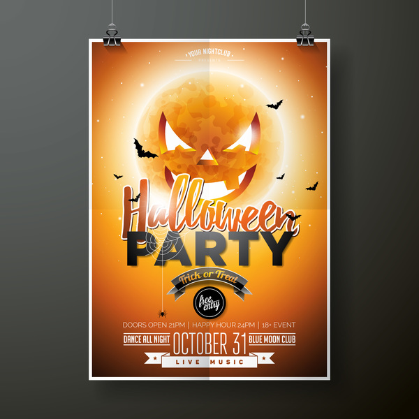 Halloween flyer with poster cover template vector 01