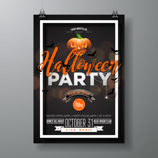 Halloween flyer with poster cover template vector 02
