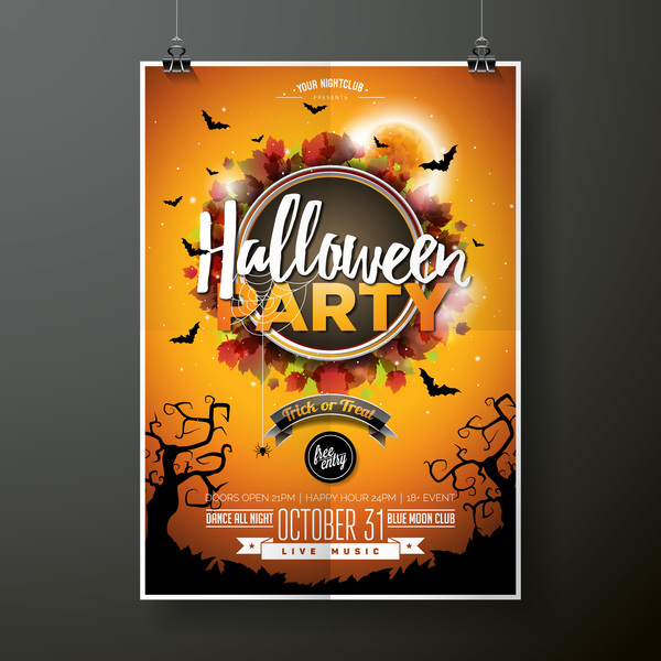 Halloween flyer with poster cover template vector 03