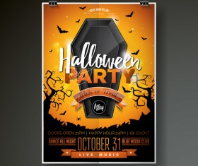 Halloween flyer with poster cover template vector 04