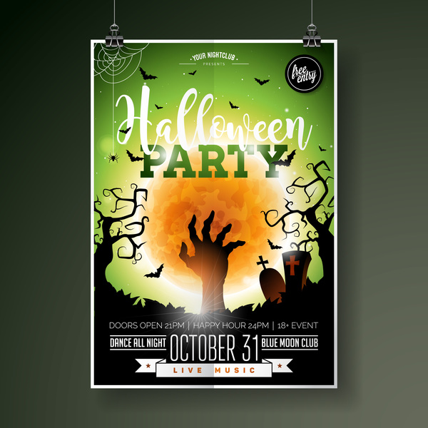 Halloween flyer with poster cover template vector 05