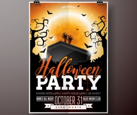 Halloween flyer with poster cover template vector 06