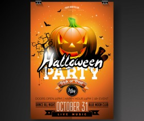 Halloween flyer with poster cover template vector 07