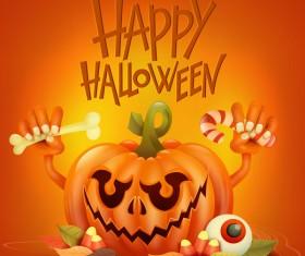 Halloween funny pumpkin design vectors 02