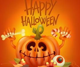 Halloween funny pumpkin design vectors 03