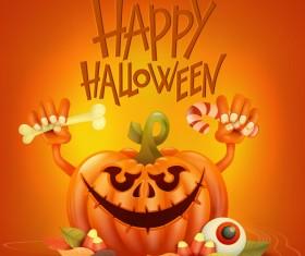 Halloween funny pumpkin design vectors 04