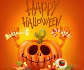 Halloween funny pumpkin design vectors 05