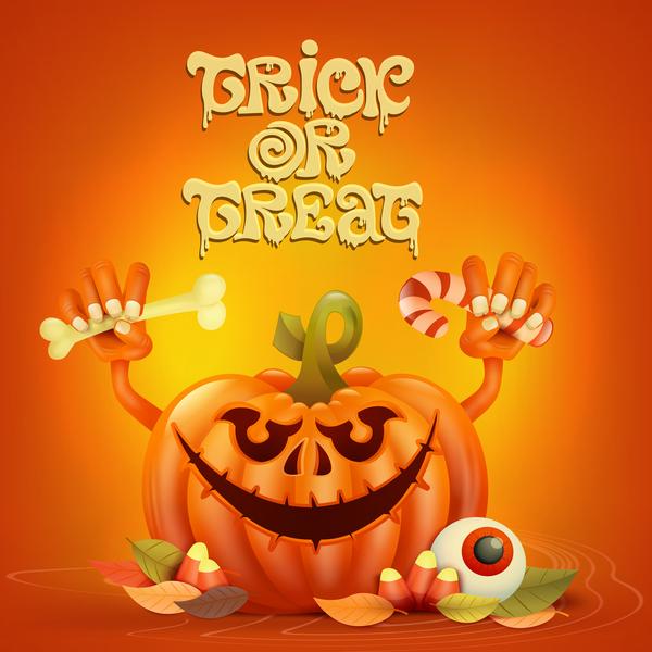 Halloween funny pumpkin design vectors 08
