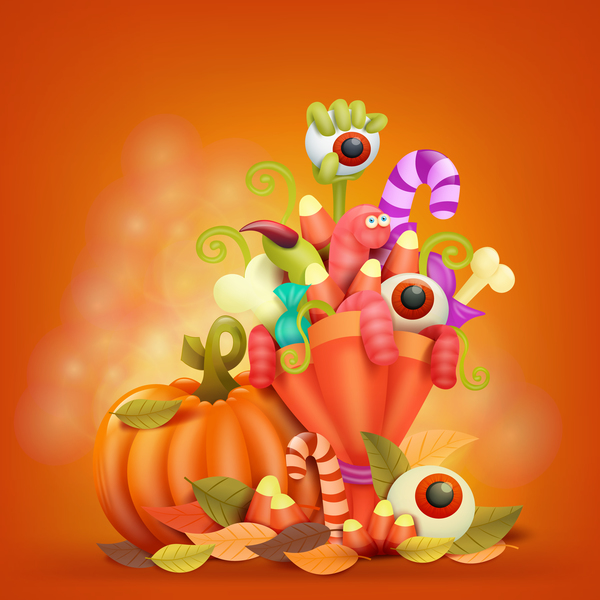 Halloween funny pumpkin design vectors 10