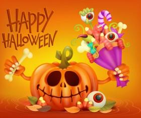 Halloween funny pumpkin design vectors 12