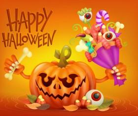 Halloween funny pumpkin design vectors 13