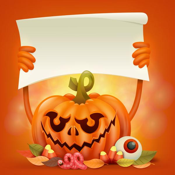 Halloween funny pumpkin design vectors 14