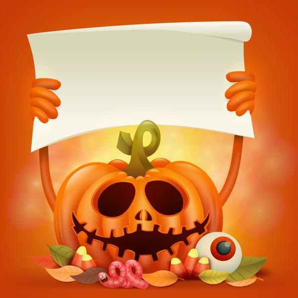 Halloween funny pumpkin design vectors 16