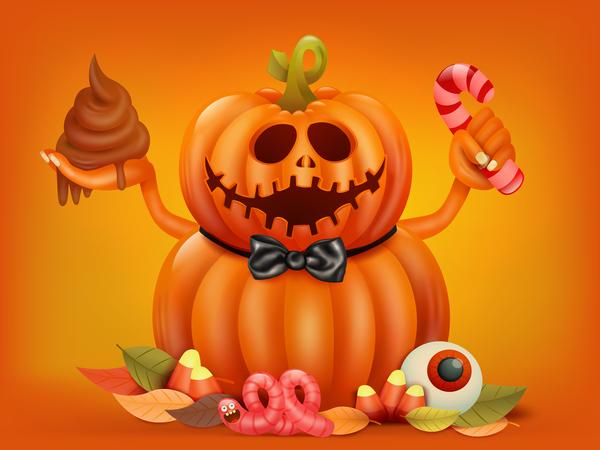 Halloween funny pumpkin design vectors 17