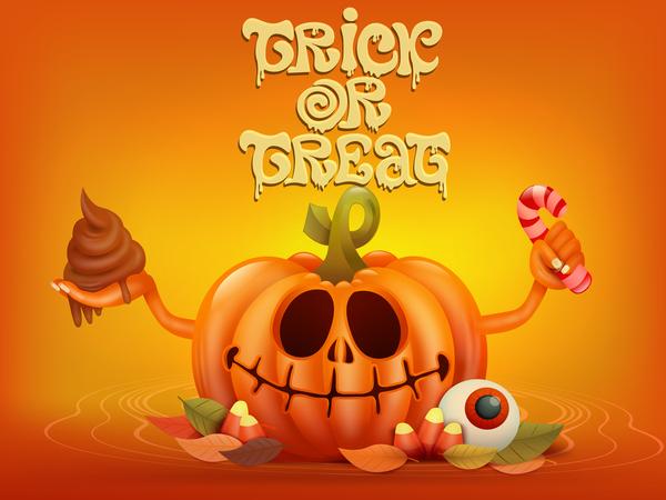 Halloween funny pumpkin design vectors 19