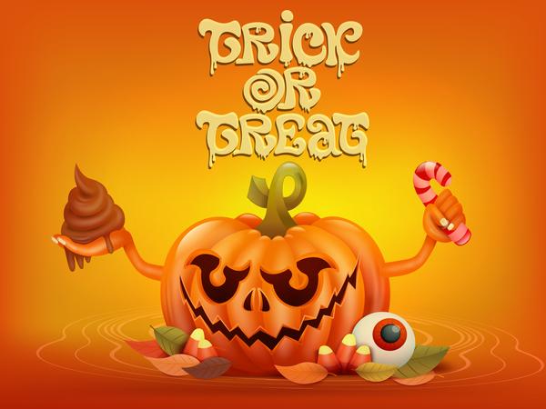 Halloween funny pumpkin design vectors 20