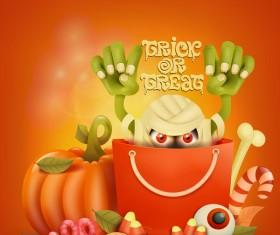 Halloween funny pumpkin design vectors 22