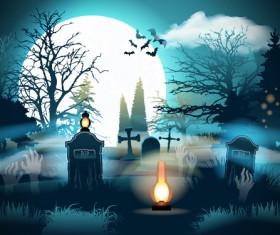 Halloween night background design vector 03