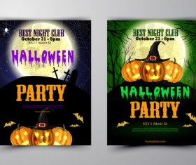 Halloween part poster template design vector set 01