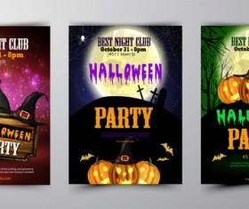 Halloween part poster template design vector set 02