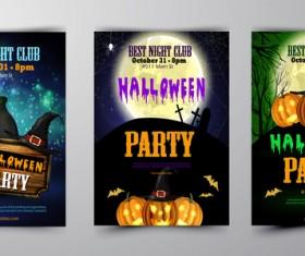 Halloween part poster template design vector set 03