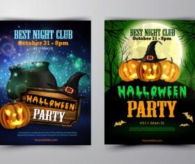 Halloween part poster template design vector set 04