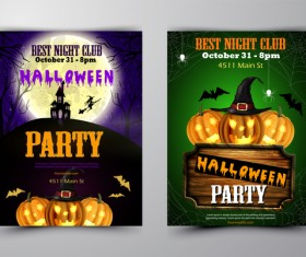 Halloween part poster template design vector set 05