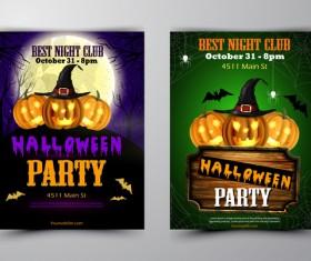 Halloween part poster template design vector set 06