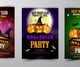 Halloween part poster template design vector set 07