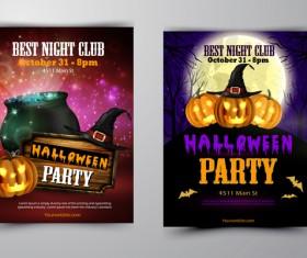 Halloween part poster template design vector set 08