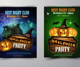 Halloween part poster template design vector set 09