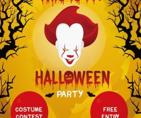 Halloween party flyer poster template vector