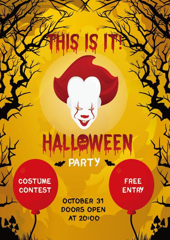 halloween party flyer poster template vector free download