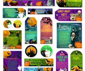 Halloween tags with banner and card template vector 01