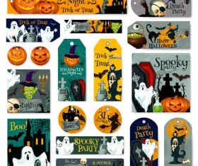 Halloween tags with banner and card template vector 02