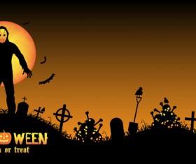 Halloween tirck of treat vector background 09