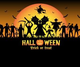 Halloween tirck of treat vector background 14
