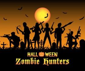 Halloween zombie hunters poster vector design 01