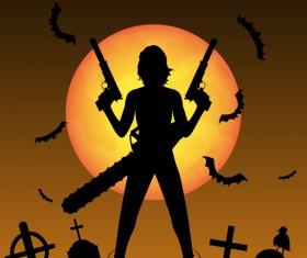 Halloween zombie hunters poster vector design 02