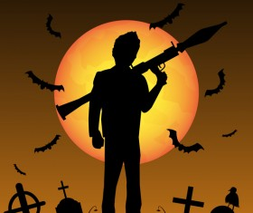 Halloween zombie hunters poster vector design 03