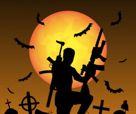 Halloween zombie hunters poster vector design 04