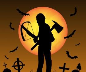 Halloween zombie hunters poster vector design 05