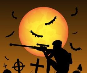 Halloween zombie hunters poster vector design 06