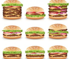 Hamburgers design vector set 01