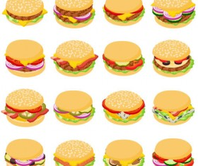 Hamburgers design vector set 02