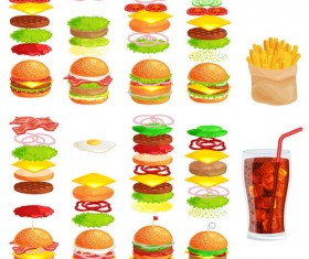 Hamburgers with drink and fries vector
