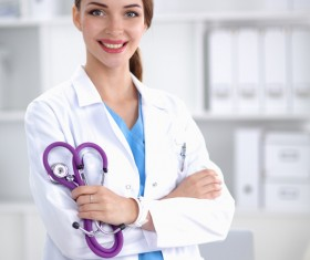 Hand doctor with a stethoscope Stock Photo