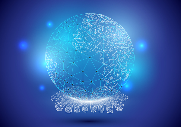 Hands holding hologram globe with polygon geometric technology digital inspiration background vector