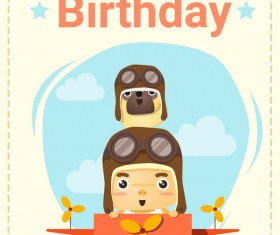 Happy birthday card with little boy and friend vector 01