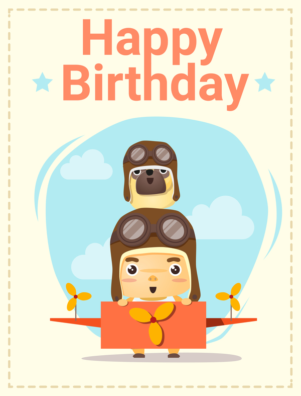 Happy Birthday Card With Little Boy And Friend Vector 01 Free Download